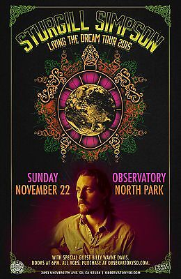 """STURGILL SIMPSON """"LIVING THE DREAM TOUR 2015"""" SAN DIEGO CONCERT POSTER - Country"""