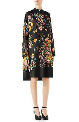 New Authentic Gucci Floral Print Silk Shirt Dress Tunic Size 44 / US 8