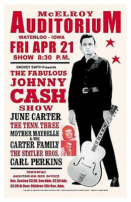 Johnny Cash at the McElroy Auditorium in Iowa Concert Poster 1967  15x23