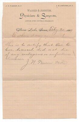 1889 Letterhead from Warren & Johnston Physicians & Surgeons Storm Lake Iowa