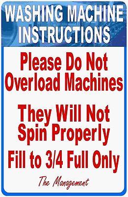 Washing Machine Instructions Do Not Overload Laundromat Sign. Size Options. Wash