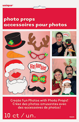 10 x Christmas Photo Booth Face Photo Props Party Activity - Christmas Photo Booth Ideas