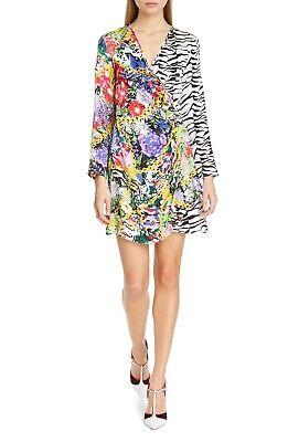 RIXO Floral Print Mono Tiger Animal Print Colorblock ABBA Satin Wrap Dress XXS