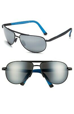 NEW Maui Jim POLARIZED Sunglasses LEEWARD COAST Matte Silver w GREY Pilot (Maui Jim Pilot Polarized Sunglasses)
