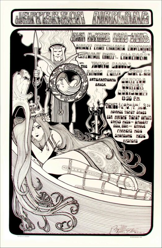 Jefferson Airplane Poster Seattle Center 1967 1999 Reprint Signed Bob Masse