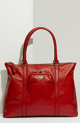 Brand New Dolce & Gabbana Miss Pen'Top Zip Red Leather Tote Bag
