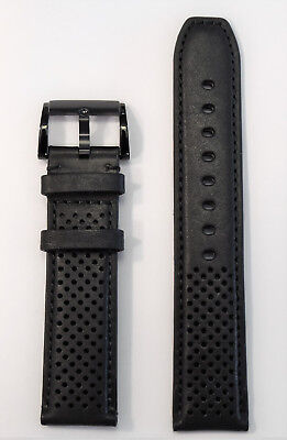 Original Movado BOLD 21mm Black Leather Band Strap Fits 43.5mm Watches