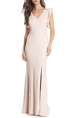 ADRIANNA PAPELL Flutter Sleeve Crepe Trumpet Gown, size 16, Retail $188, #LL1032 Adrianna Papell Flutter Sleeve