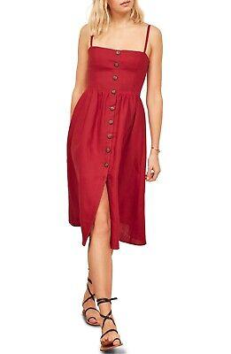 Cherry Red Dress - REFORMATION Cherry Red Button Down Smocked TORI Linen Pocket Summer Sun Dress 0