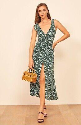 REFORMATION Susanna Green Floral Print HARPER Tie Front Shoulder Slit Dress 0 XS Harper Floral Print