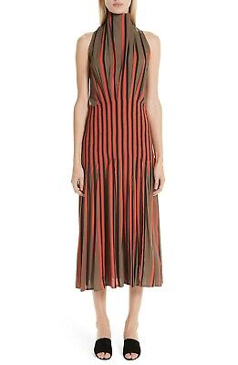 NEW BEAUFILLE Olive Red Black Bold Stripe High Funnel Neck Midi Skirt Dress 12
