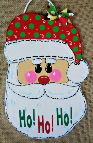 Ho Ho Ho SANTA CLAUS Christmas SIGN Wall Door Hanger Plaque Wreath Accent Decor