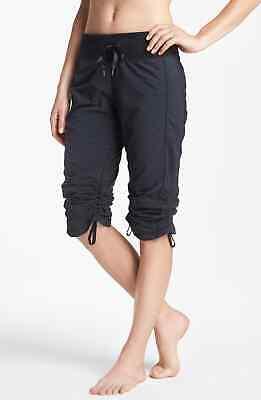 Zella Move It Capris Crop Cinch Hem Ruched Dance Pants Black Size 4