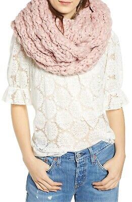 Free People Dreamland Chunky Knit Infinity Scarf Pink Free Knitting Scarf