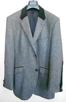 Used, Holland Esquire Grey & Black Blazer Jacket w. Suede Panels Jacket 44 R Pristine for sale  Beverly Hills