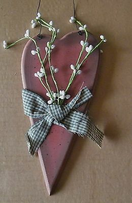 "Rustic Country 9x4"" Wood Red Heart white Pip Berry Berries Sign Floral Decor"