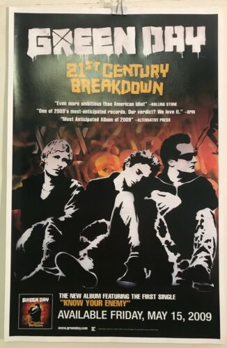 "GREEN DAY 21st Century Breakdown 2009 RECORD STORE 11""x17"" PROMO POSTER/ NM COND"