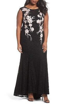 DECODE 1.8 Black Pink Floral Embroidered Stretch Lace Bodycon Mermaid Gown 18W