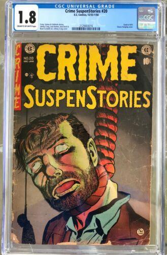 Crime Suspenstories #20 (1953-1954) CGC 1.8 -- Classic Craig hanging cover; SOTI
