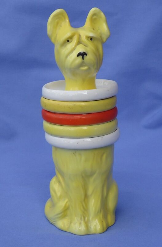 "1930 ART DECO SKYE SILKY TERRIER BRIARD PAPILLON DOG SMOKE SET GOEBEL GERMANY 7"""