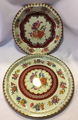Set Of 2 Floral Daher Decorated Ware Trays Wall Decor England Metal 1971