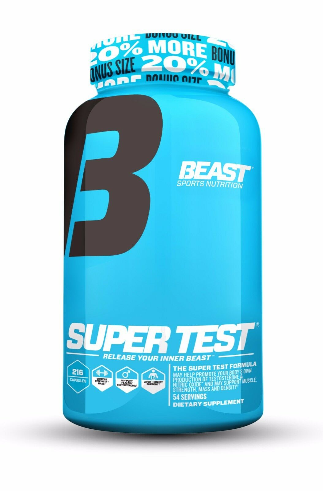 Beast Super Test Hardcore Testosterone Booster to Burn Fat & Build Muscle, 216ct
