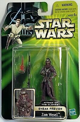STAR WARS Figures Zam Wesell Sneak Preview Attack Of The Clones Carded POTJ