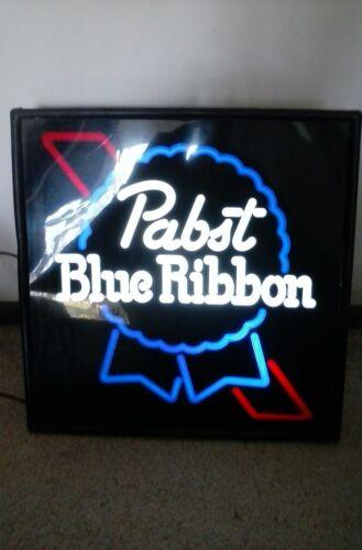 "RARE VINTAGE PABST BLUE RIBBON BEER LIGHT LIGHTED SIGN 17"""