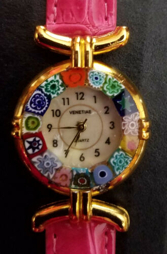 GlassOfVenice Murano Glass Millefiori Watch with Leather Band - Hot Pink