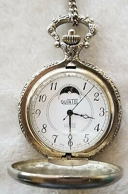 """Vintage Quintel Lunar Phase Silver Toned Wind Up Pocket Watch with 24"""" Chain"""
