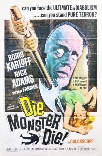 DIE MONSTER DIE 1965  Original Movie Poster 1- SHEET Boris Karloff