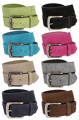 Leather Jean Casual Belt - Suede Leather Casual Jean Belts With Silver Buckle, 1-1/2