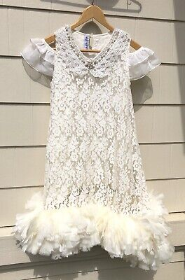 Shosho Bella Couture Lace & Feather Wedding Occasion Party Dress Size 8