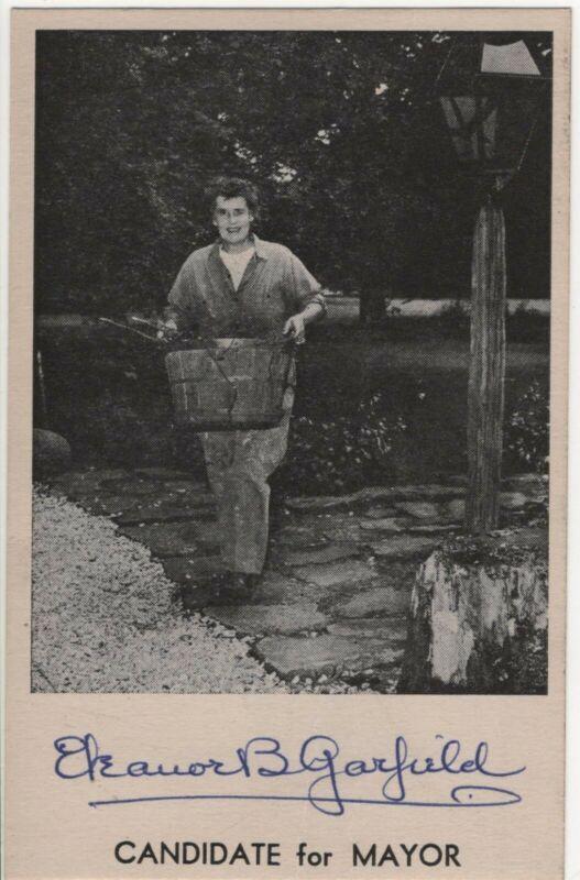 Woman Mayor Eleanor B Garfield Mentor Village OH Vintage Political Postcard
