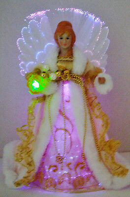 Elegant Angel Gold & White Lighted Tree Topper or Table Decor LED Fiber Optics