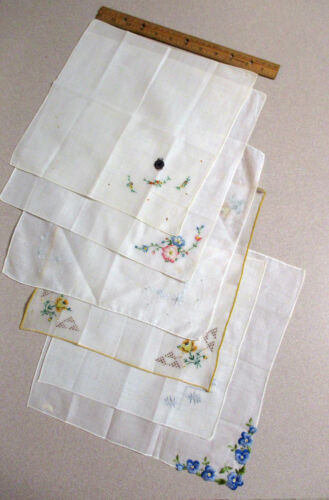 LOT OF 6, VINTAGE FLORAL EMBROIDERY LADIES WHITE HANDKERCHIEFS, HANKY