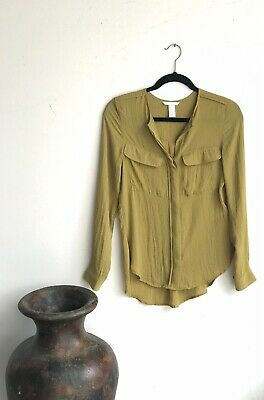 H&M Women's Size S Long Sleeves Top Mustard Green Front Buttoned