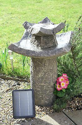 Pavillion Solar Bird Bath Water Feature Solaray Garden Outdoor Fountain H62cm