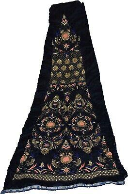 Indian Culture Blue Decor Fabric Antique Embroidery Dabka Beads Floral Decor