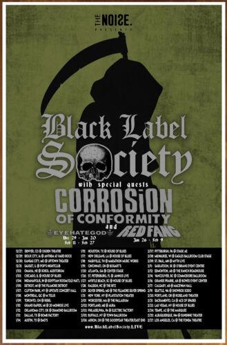 BLACK LABEL SOCIETY | CORROSION OF CONFORMITY 2018 Tour Ltd Ed RARE Poster! BLS