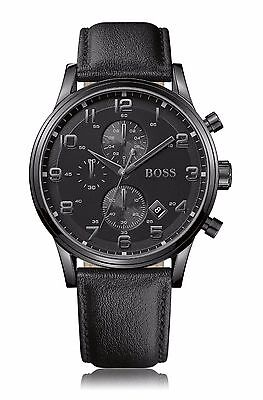 Hugo Boss Blackened Stainless Steel Black Dial Leather strap Men Watch in a Box