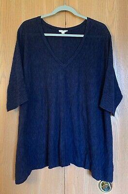 Eileen Fisher Size 2X Indigo Blue Linen/Cotton Short Sleeve Sharkbite Sweater