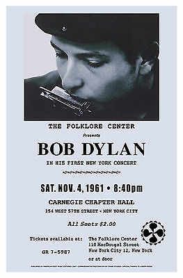 FOLK: New York Carnegie Hall Concert Poster Featuring Bob Dylan from  1961