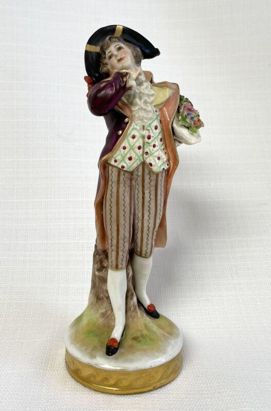 Antique German Volkstedt  Porcelain Figurine Man Holding Bouquet In Bicorn Hat