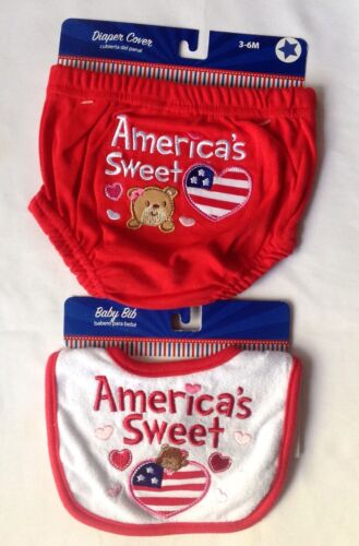 как выглядит AMERICAS SWEET HEART 2 PIECE DIAPER COVER AND BIB SET RED WHITE BLUE 3-6M NEW фото