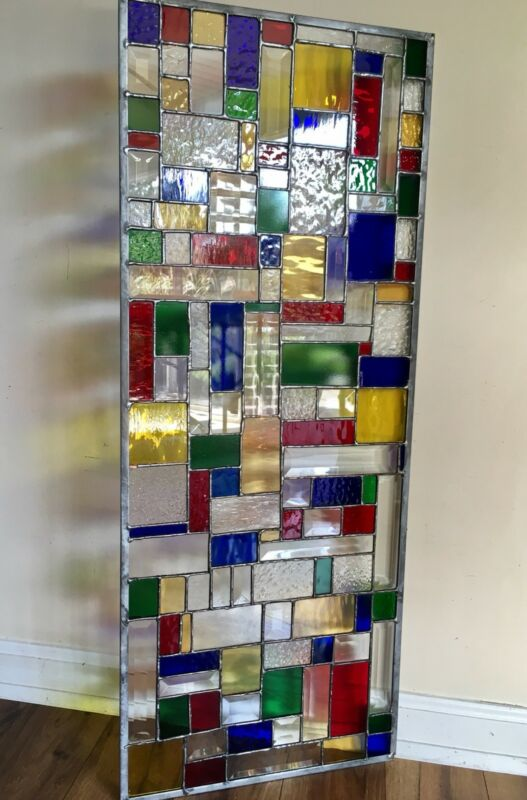 Abstract Geometrical  Stained Glass Panel Modern Bevelled Window