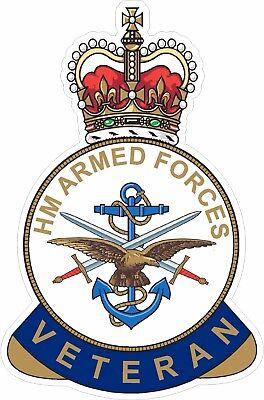 HM ARMED FORCES VETERAN STICKER UK - CARS - VANS - LAPTOPS