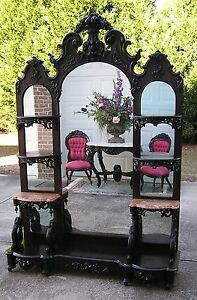 FANTASTIC-VICTORIAN-ROCOCO-ROSEWOOD-J-H-BELTER-ETAGERE