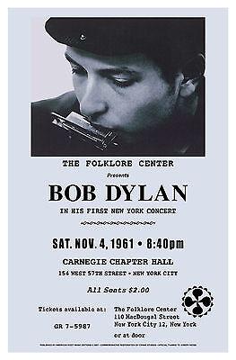 Folk Rock: Bob Dylan  New York Carnegie Hall Concert Poster Circa 1961