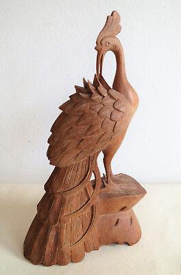 Japanische Holz FIGUR_Vogel Pfau_Handarbeit aus Japan_signiert